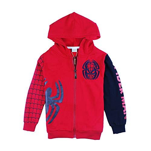 Veste à capuche à capuche pour garçons Spiderman Kids Casual Confortable Cadre de fermeture à glissière de fermeture extérieure coupe-vent 3D manteau d'impression pour 2-9 ans,Red- kid L 110~120cm