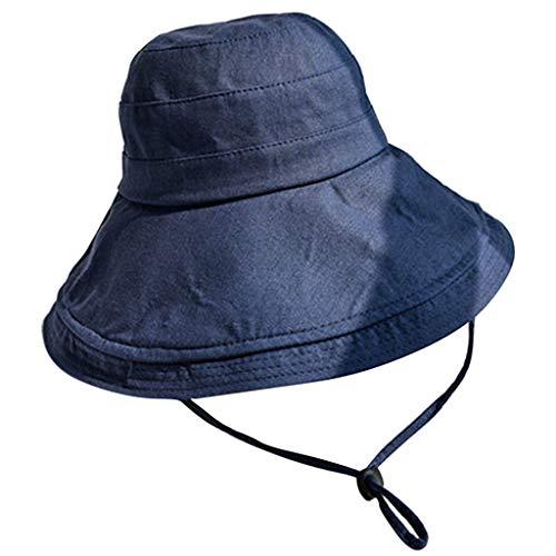 iYmitz Sommer Anti-UV Sonnenhüte Elegant Hut Bequemer Becken Hut Fischer Beiläufiger Visier Faltbare Kappe mit Sonnen Shade für Damen(Marine,One size)