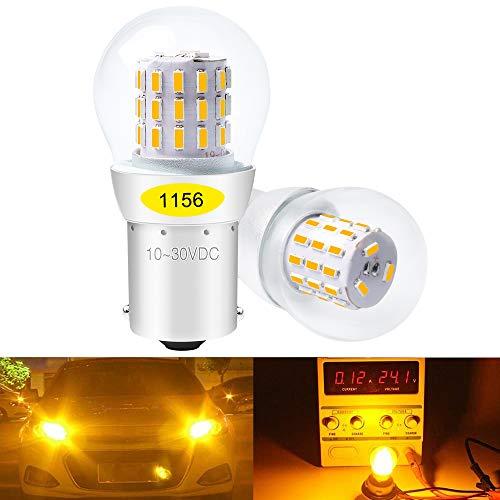 DEFVNSY Lot de 2 - Ambre/Jaune P21W 1156 BA15S 1141 1003 7506 1073 Lumière LED 3014 39-SMD Ampoules pour clignotants Ampoules de clignotant latéral clignotant arrière - 10-30V DC
