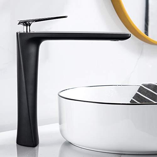 Badezimmer Wasserhahn – JOMOLA Einzelgriff, Waschtischarmatur, hohes Becken, Einhandbatterie, Schwarz (ohne Abtropffläche)