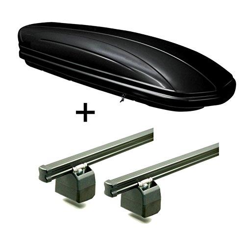 Dachbox 320 Liter abschließbar schwarz VDPMAA320 + AURILIS PRO Dachgepäckträger kompatibel mit VW T6 ab 2015