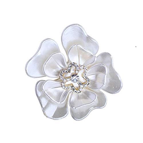 Alfileres de esmalte de flores de camelia blanca simples broches de diamantes...