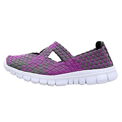 Tennis à Enfiler Femme,Été Automne Chaussures Plates Baskets en Tissu DéContracté Overdose Sportswear Comfort Flats