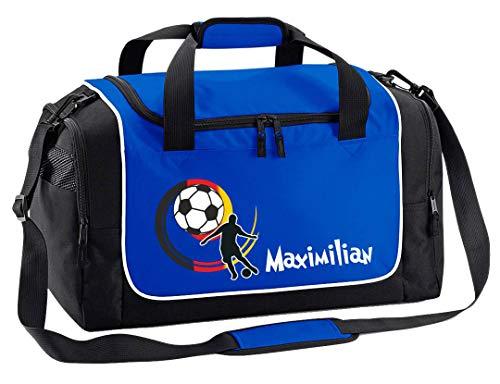 Mein Zwergenland Sporttasche Kinder personalisierbar 38L, Kindersporttasche mit Name und Deutschlandball Bedruckt in Royal Blau