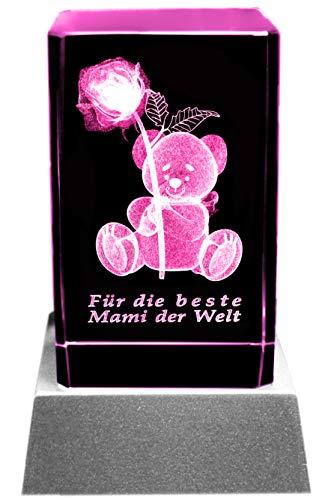Kaltner Präsente Stimmungslicht: LED Kerze/Kristall Glasblock / 3D-Laser-Gravur Teddy Rose Beste Mami der Welt