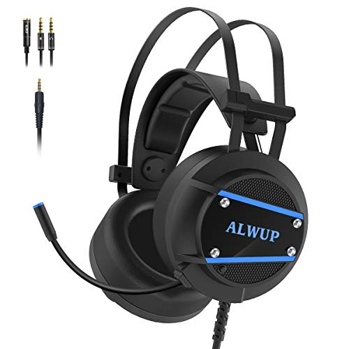 ALWUP A9 Xbox One Headset, PS4 Gaming Headset with Mic, PC Game Headphones with Microphone for Gamer Playstation 4 Xbox 1 S & X Nintendo Switch Computer Laptop of Stereo Surround Sound, Deep Ear Pads Headsets
