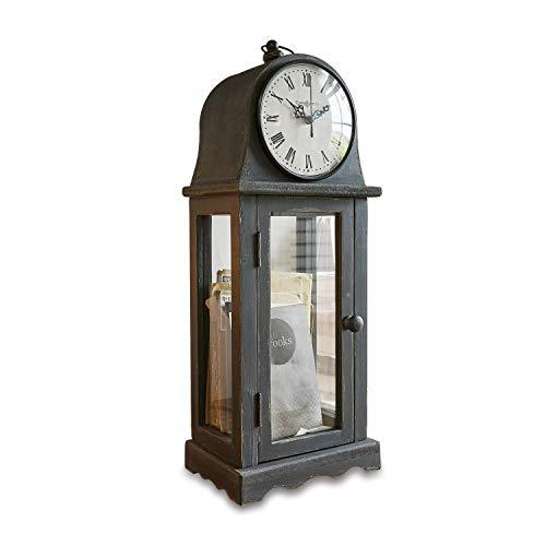 Loberon Uhr Mortimer, Glas, H/B/T ca. 51/14 / 19 cm, schwarz