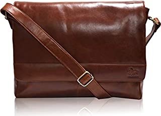 "Leather Laptop Messenger Bag for Men - Premium Office Tan Briefcase 13"" MacBook Professional College Mens Womens Side Bags"