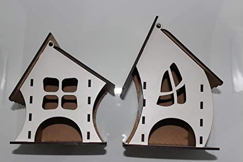 Juego de 2 cajas organizadoras decorativas para bolsitas de té. Caja dispensadora para infusiones elaborada en madera MDF Blanco 3 mm. Diseño único. (Blanco)