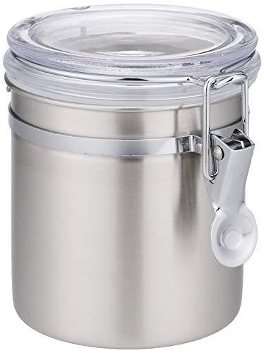 パール金属 保存容器 18-8 ステンレスキャニスター 密封びん 透明カバー 730ml スリム ロック式 サティーナ HB-3797