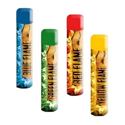 4 Stück Color Mix Handfackel Bengalo Pyro Rauch Vulkan Lanzenlicht Fontäne Party Feuerwerk Rauchfarbe blau+grün+rot+gelb