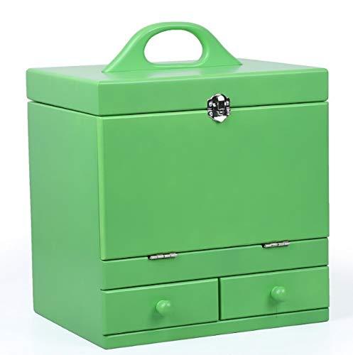 Zhicaikeji Boîte de maquillage, caisse à cosmétiques en bois sculptée vintage à deux étages de couleur verte avec miroir, cadeau de mariage de qualité supérieure et cadeau de pendaison de crémaillère,