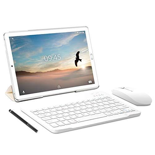 Tablet 10.0 pollici YESTEL Tablet Android 9.0 con 3 GB di RAM + 32 GB di ROM - Chiamata doppia SIM / WiFi | Bluetooth | GPS, 8000 mAH, con mouse | Tastiera e Cover-Argento