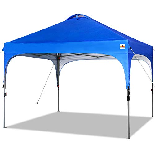 ABCCANOPY Canopy Tent 10x10 Pop Up Canopy Outdoor Canopies Super Comapct Canopy Portable Tent Popup Beach Canopy Shade Canopy Tent with Wheeled Carry Bag Bonus 4xWeight Bags,4xRopes&4xStakes,Blue
