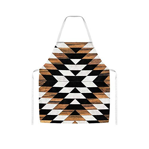 YYone Urban Tribal Pattern Aztec Concrete and Wood Funny White Cooking Unisex Apron