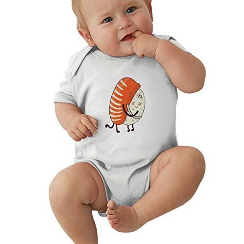 Lplpol Sushi Abbraccio Carino Kawaii Giapponese Cibo Cotone Manica Corta Onesies Body Tuta per Bambine, Ne723 bianco 1 mese