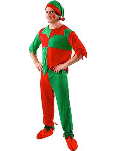 ORION COSTUMES Costume de déguisement d'elfe de Noël rouge et vert pour hommes