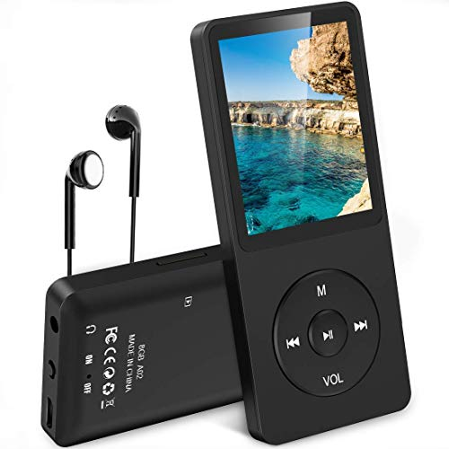 AGPTEK MP3 Player, 16GB verlustfrei MP3 mit 1,8 Zoll Bildschirm, 70 Stunden Wiedergabezeit tragbare Musik Player mit Kopfhörer, mit FM Radio, Bilder, Aufnahmen, E Buch, bis 64GB TF Karte, Schwarz