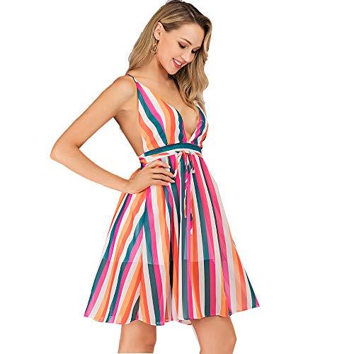 Las Mujeres Visten Deep v Cuello sin Espalda Chifón Multicolor impresión a Rayas de la Playa de Verano Sexy Vestidos de Noche de Fiesta (M=EU36, Rayas Multicolor)