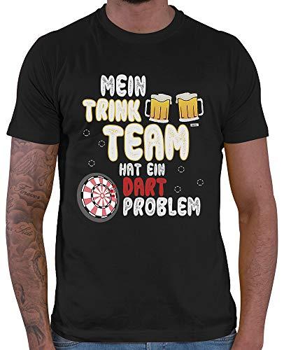 HARIZ Herren T-Shirt Mein Trink Team Hat EIN Dartproblem 2 Dart Darten Dartscheibe Sport Fun Trikot Inkl. Geschenk Karte Schwarz L