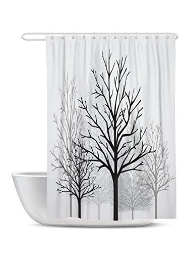 SUMGAR Cortina de Ducha con árbol Blanco y Negro de Color Blanco y Gris Bosque Decorativo Cortinas de baño de Invierno Ramas Desnudas Cortinas de con 12 Anillos de plástico Blanco 180x180cm