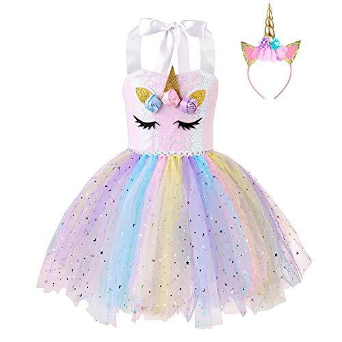 FONLAM Vestido de Bautizo Fiesta Niña Bebé Disfraz de Unicornio Princesa Tutú...