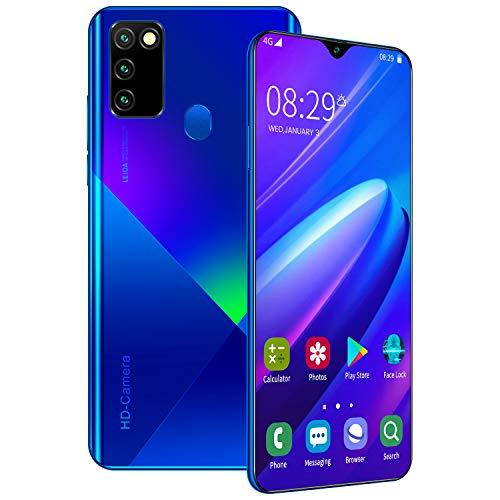 Smartphone ohne Vertrag A90 Günstig 6.8 Zoll HD Display, 4500mAh Akku, 16MP 32MP Dual Kamera, 8GB RAM 256GB ROM, 128 GB erweiterbar Dual SIM Android Handy,Blue