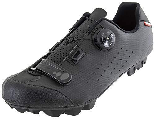 LUCK Zapatillas de Ciclismo MTB | Hombre y Mujer | ICARO Negro Carbón | Suela de Carbono Rígida y Ligera | Cierre ATOP y Velcro para un Ajuste Optimo (Negro, 43)