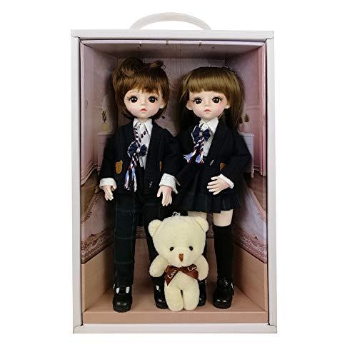 EVA BJD Nette Puppe 1/6 12inch 30CM, die Körper-Kleidung Schuhe und Perücke inklusive, Full Set 17 Jointed Puppe für 6 Jahre Alten Mädchen und Oben, Geschenk für Geburtstag, Hochzeit (Ayas)