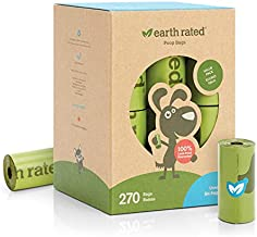 Earth Rated Dog Poop Bags, 270 Extra Thick and Strong Poop Bags for Dogs, Guaranteed Leak-proof, Unscented, 18 Rolls, 15 Doggy Bags Per Roll, Each Dog Poop Bag Measures 9 x 13 Inches