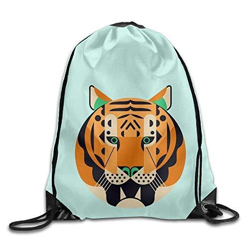JHUIK Tiger Big Face Kids Canvas Bag Summer Bags Drawstring Backpack Japanese