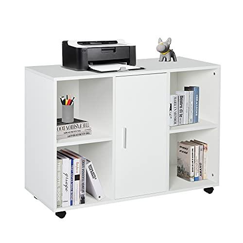 HOMCOM Armario de Oficina para Impresora Soporte de Máquinas con 4 Compartimentos Armario de Puerta Ruedas 2 Frenos 100x40x71 cm Blanco
