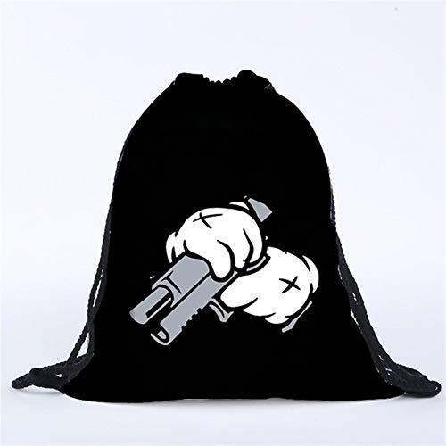 Brandless Frauen Männer Kinder-Rucksack-Pistole 3D-Druck-Taschen-Speicher-Tasche Sporttasche Rucksack Worek Plecak sznurek (Color : White)