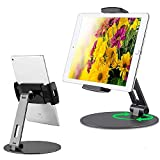 Magichold Aluminum Tablet Smartphone Desk Stand, 360° Swivel Tablet & Phone Holders for Any 4-14' Display Tablets or Cell Phones,Compatible with IPAD PRO 12.9 /IPAD/iPhone/ Samsung Galaxy (Black)