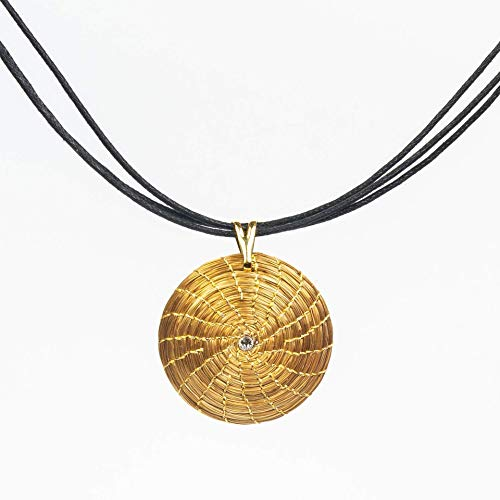 Collar Dorado Mandala Colgante Redondo en Oro Vegetal con Swarovski