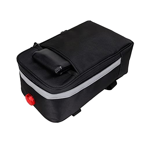 MPGIO Fahrrad-Kofferraum-Tasche Fahrradträger-Pack Fahrrad-Rücksitztasche 28 * 16 * 11 cm mit Reflexstreifen und Warnlicht Fahrrad-Lenkertasche