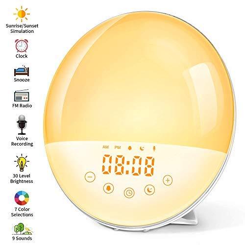 Wake Up Licht Lichtwecker mit Aufnahmefunktion Tageslichtwecker mit 30...