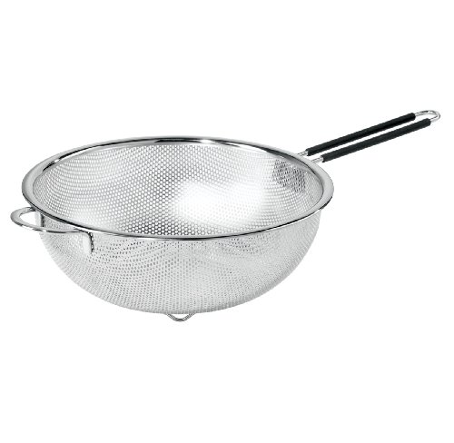 Oggi 56290 Perforated 11inch Stainless Steel Colander with SoftGrip Handles