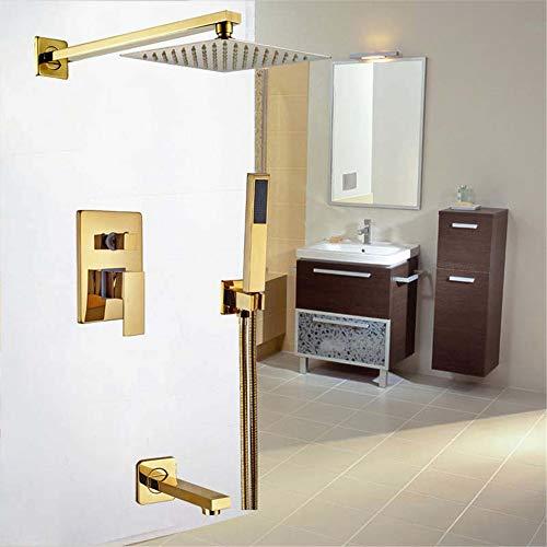 HNBMC Golden Wall - Juego de grifos de Ducha para bañera, 20 cm, con válvula Monomando