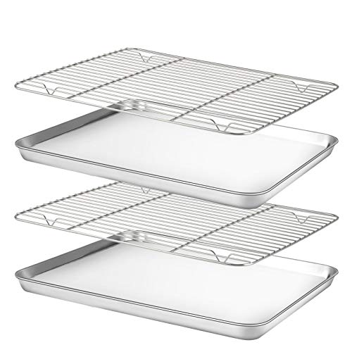 Baking Sheet with Cooling Rack Set [2 Sheets+2 Racks], Nonstick Cookie Pan(16' x 12' x 1'), Stainless Steel Baking Pans, Non-Toxic, Heavy Duty, Easy...
