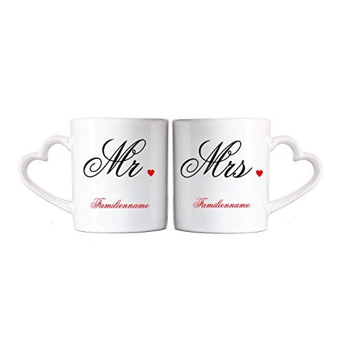 Herz & Heim® Mr. & Mrs. Paartassen zur Hochzeit mit Aufdruck des Familiennamens