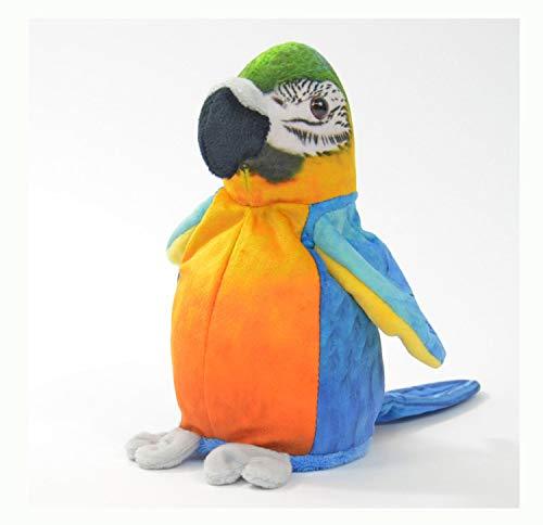 Kögler 75956 - Labertier Papagei Sunny, ca. 21 cm groß, nachsprechendes Plüschtier mit Aufnahme- und Wiedergabefunktion, plappert alles witzig nach und bewegt sich, batteriebetrieben