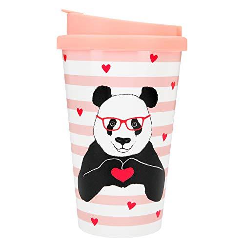 Depesche 2180.021 to-Go Becher aus Kunststoff mit Motiv, 350 ml, Panda, Mehrfarbig