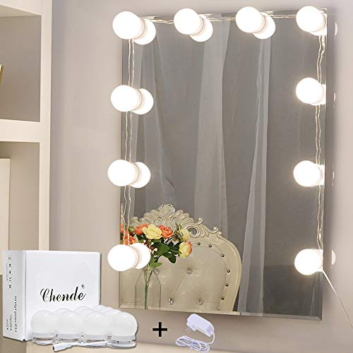 Chende Hollywood Style LED Vanity Mirror Lights Kit with Dimmable Light Bulbs, -