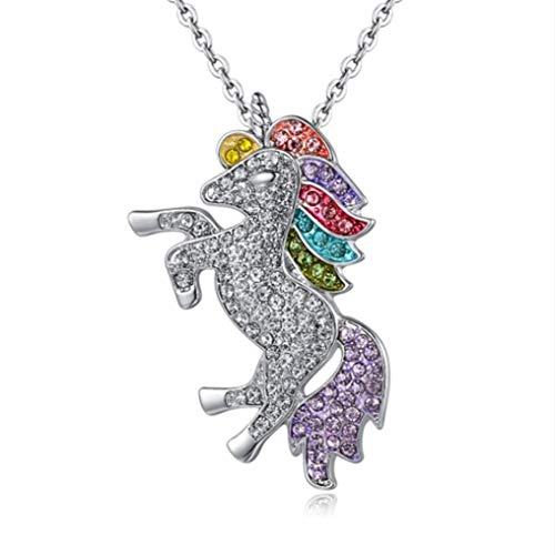 Myhouse Beautiful Rhinestone Unicorn Necklace Sweater Chain for Women