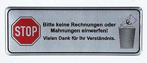3D brievenbus sticker zilver - 401304 -Gelieve geen factuur of aanmaningen in te werpen! 70 x 25 mm, uitstekende bescherming tegen weersinvloeden, geen goedkope foliestickers