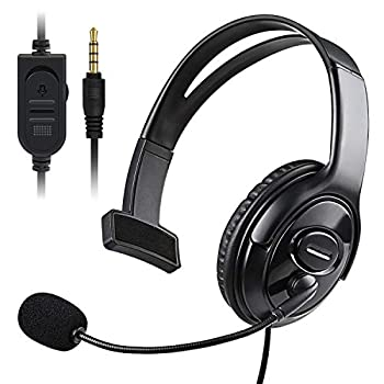 PS5 PS4 Unilateral Headset Joso 3.5mm Wired Online Gaming One Ear Headphone with Microphone for Sony Playstation 5 4 PS4 Pro PS4 Slim Controller Nintendo Switch Laptop Smartphone Office Business