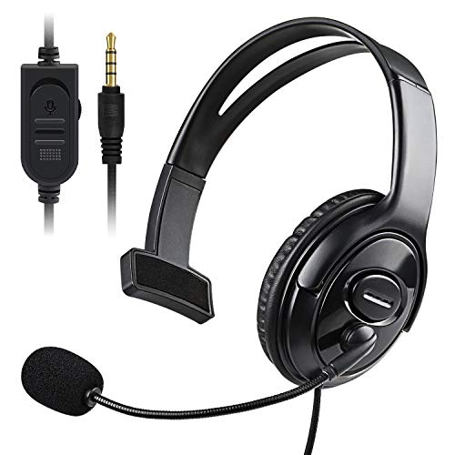 PS5 PS4 Unilateral Headset, Joso 3.5mm Wired Online Gaming One Ear Headphone with Microphone for Sony Playstation 5 4, PS4 Pro PS4 Slim Controller, Nintendo Switch, Laptop, Smartphone, Office Business