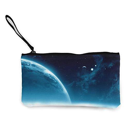Yuanmeiju Planet Space Open Space Star Galaxies Shine Cute Canvas Change Coin Wallet Bag Pouch Zipper Holder Borsa Cinturino da polso