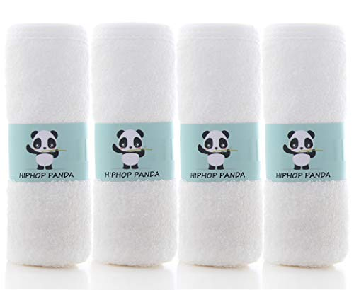 Bamboo Burp Cloths - Thickening 2 Layer Ultra Absorbent Burping Cloth for Baby Boys and Girls, Newborn Essentials Towel - Milk Spit Up Rags - Burpy Bib for Unisex - White (4-Pack)